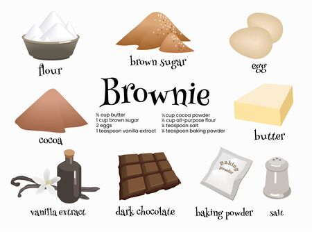 Set of american dessert brownie ingredients. Eggs, dark chocolat, butter, cocoa, vanilla extract, brown sugar, flour, baking powder and salt for preparation of traditional sweets. Cartoon illustration. Vektoros illusztráció