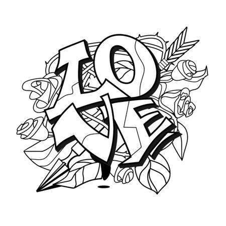 Love lettering in graffiti style. Vector illustration.