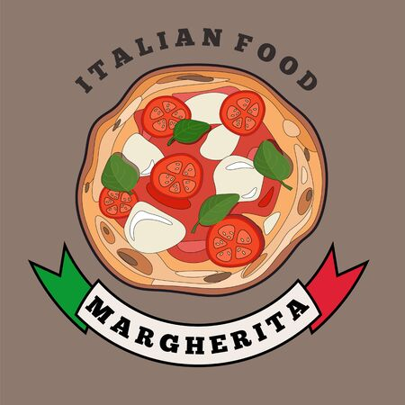 Margherita pizza hand drawn colorful vector illustration.