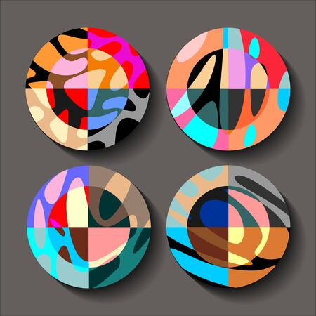 Set of four decorative plates with abstract colorful print.