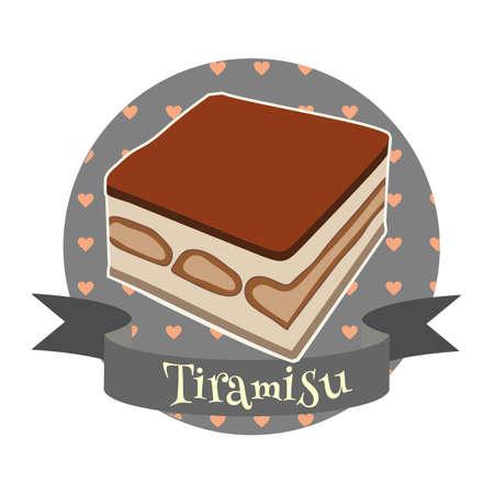 Tiramisu traditional Italian dessert. Colorful illustration in cartoon style.