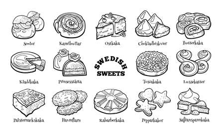 Collection of traditional Swedish desserts. Hand drawn sketch in doodle style.