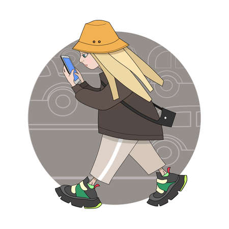 Smartphone addicted girl walking with smartphone. Cartoon vector illustration.