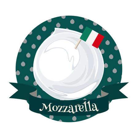 Mozzarella italian cheese.. Colorful illustration in cartoon style.