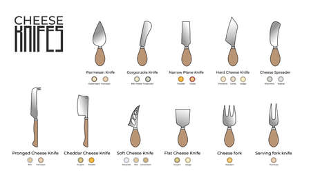 Set of cheese knifes isolated on white background. Vector illustration.
