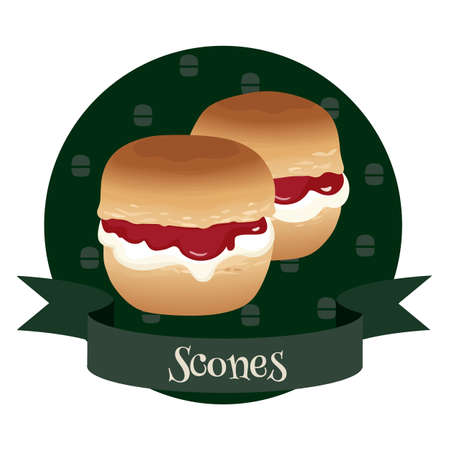 Scones with cream and jam. Traditional british teacakes. Vector illustration for cafe and restaurant menu, food packaging, labels and posters.