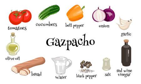 Gazpacho spanish vegetable soup. Set of ingredients. Vector illustration.