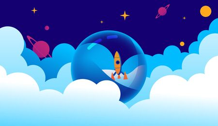 Liquid planet among the clouds on which the rocket lands. Vector illustration in cartoon style.