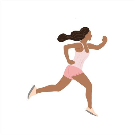 The girl is jogging. The illustration depicts a healthy lifestyle.