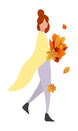 Girl with autumn leaves. In cartoon flat style