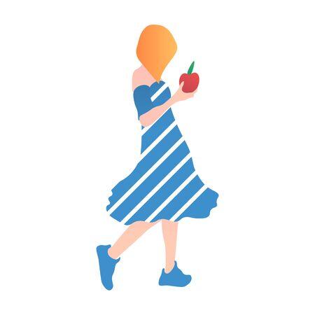 Girl with apple. In cartoon flat style Çizim