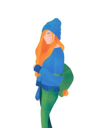 The girl is traveling. In cartoon flat style