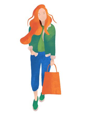 Girl at the autumn sale. In cartoon flat style