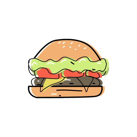Cute doodle burger in doodle style, Fast food and instant food. Nutrition with reduced eating and cooking times. Vector graphics on an isolated white background.