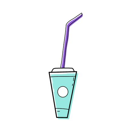 Cute doodle fizzy drink in doodle style, fast food and instant food product. Nutrition with reduced eating and cooking times. Vector graphics on an isolated white background. Illusztráció