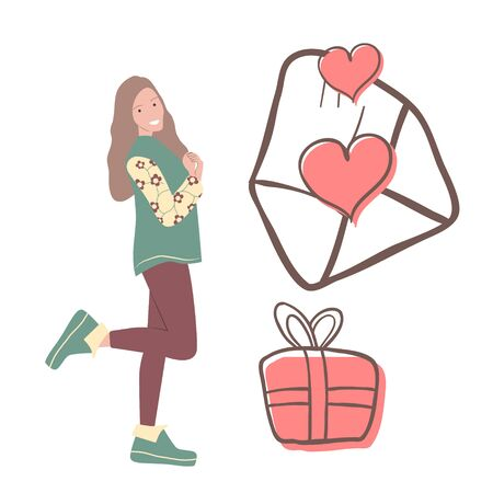 Cute drawing of a girl who received a gift. A love letter and a gift for Valentine's Day. Vector graphics on a white background. Stock Illustratie