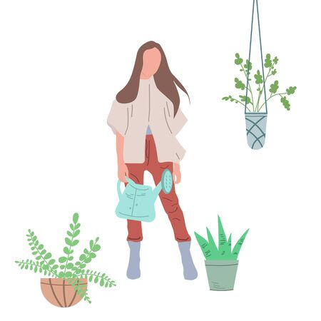 Girl watering flowers in a pot. Creating favorable conditions in a greenhouse, room or public premises for growing indoor plants. Illustration in doodle style. Vector graphics on a white background.