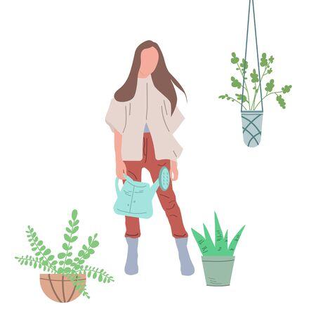 Niña regando flores en una maceta. Creación de condiciones favorables en un invernadero, habitación o local público para el cultivo de plantas de interior. Ilustración en estilo doodle. Gráficos vectoriales sobre un fondo blanco. Ilustración de vector