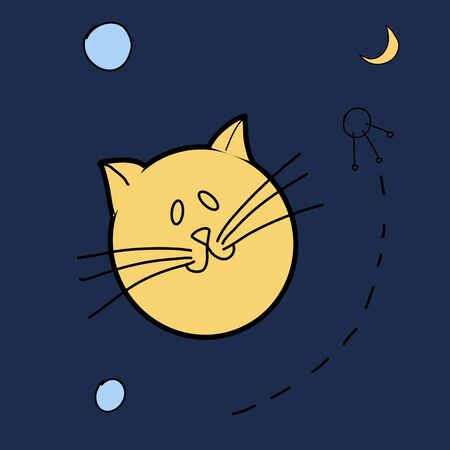 Cute illustration of a planet in the form of a cat. Space-themed ideas.