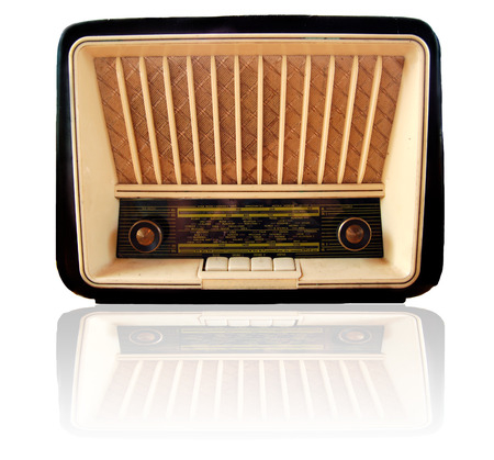 Old retro radio isolated on white.