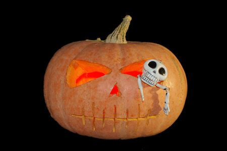 Halloween and autumn composition. Pumpkin and a skeleton. Stock Photo - 2004972
