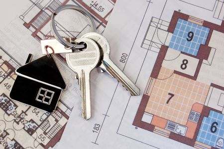 Keys with home on blueprints Stock Photo - 3395010