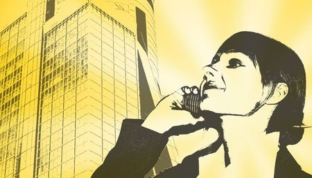 Businesswoman with cell phone over skyscraper.  photo