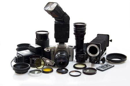 Photographic equipment isolated on white background. photo