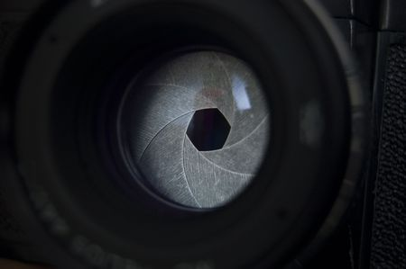 Macro shot of photographic lens. Focus on shutter Stock Photo