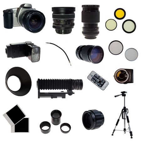 Photographic equipment set. 16 elements isolated on white.