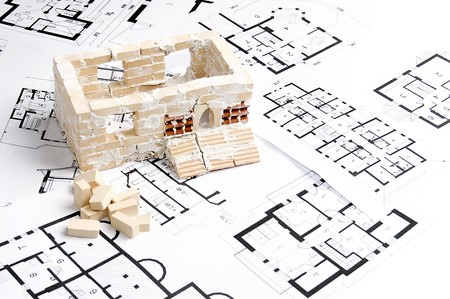 House over blueprint. Real estate concept Stock Photo - 4022949