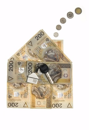 Real estate concept - House made of polish zlotys isolated Stock Photo - 4103422