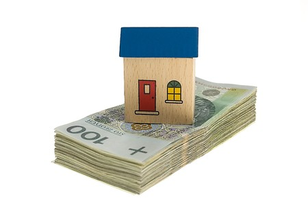 Real estate concept - House on stack of polish zlotys isolated Stock Photo - 4103428