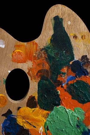 used painting palette  isolated on black Stock Photo - 4912991