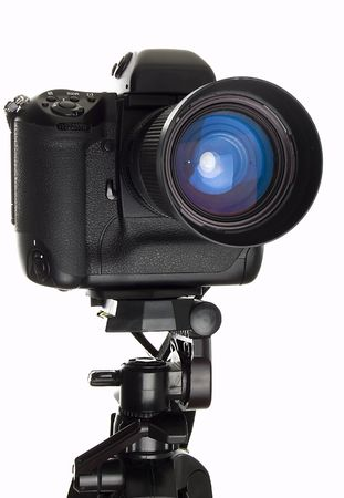 Professional digital camera over white background.