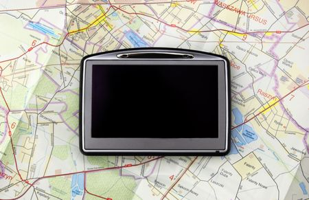 GPS - global positionung system on old map photo