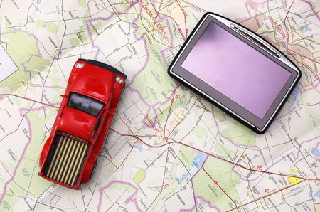 GPS - global positionung system and car on old map Stock Photo