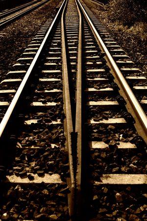 ballast: Railroad in Poland. Sepia toned.