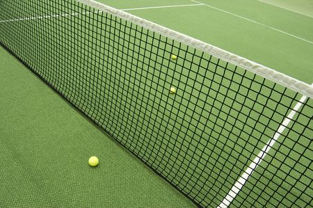 Tennis compositon. Yellow ball, lines and court. Stock Photo