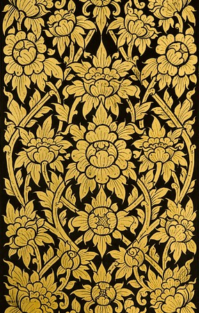 Floral pattern. Detail on Grand Palace in Bangkok, Thailand