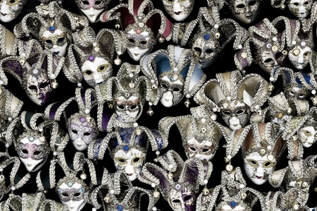 Big amount of traditional venetian carnival masks. Venice, Italy. Stock Photo - 10842692