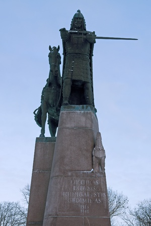 duke: Statue of Medieval Duke Gediminas on Cathedral Square, Vilnius, Lithuania