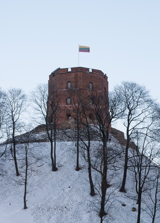 Witer shot of Tower of Gediminas, Vilnius, Lithuania photo