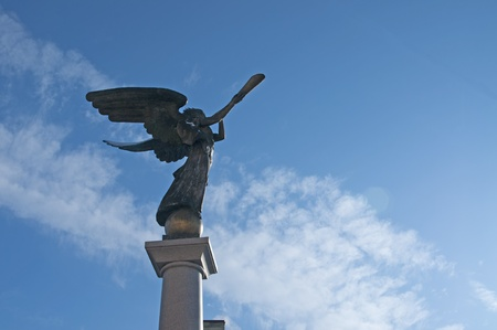 Statue of an angel at Uzupio, a bohemian and artistic district in Vilnius, Lithuania. Stock Photo