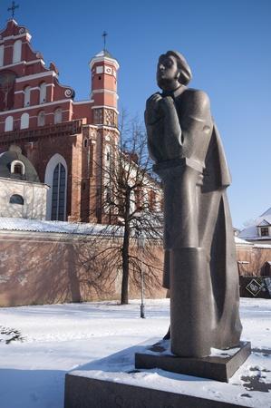 vilnius: Statue of Adam Mickiewicz (Adomas Mickevicius) in Vilnius, Lithuania.