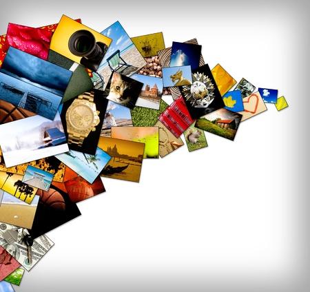 galeria fotografica: Resumen de fondo con muchas fotos vibrantes y espacio de la copia. Foto de archivo