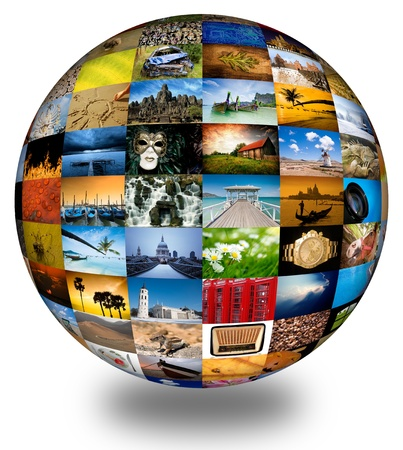 Abstract globe with many vibrant photos. Imagens
