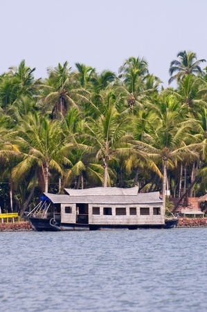 houseboat: A parked houseboat on the backwaters of Kerala, India  Stock Photo