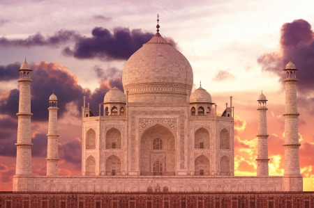 Sunset over Taj Mahal mausoleum, Agra, Uttar Pradesh,  India Stock Photo