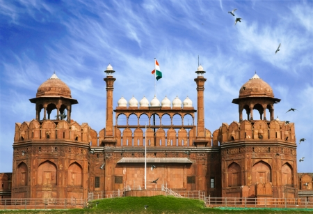 fort: Famous Red Fort - Lal Qilah, in Delhi, India